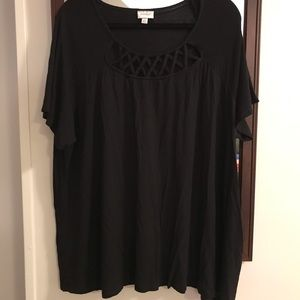 Black Tee with Design Along Neckline